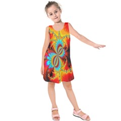 Crazy Mandelbrot Fractal Red Yellow Turquoise Kids  Sleeveless Dress by EDDArt