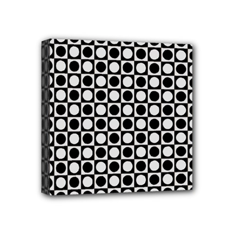 Modern Dots In Squares Mosaic Black White Mini Canvas 4  x 4