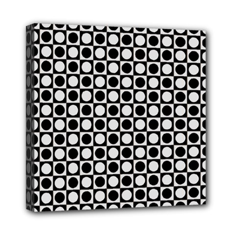 Modern Dots In Squares Mosaic Black White Mini Canvas 8  x 8