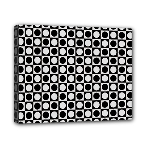 Modern Dots In Squares Mosaic Black White Canvas 10  x 8