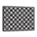 Modern Dots In Squares Mosaic Black White Canvas 16  x 12  View1