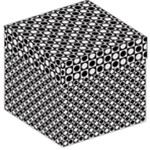 Modern Dots In Squares Mosaic Black White Storage Stool 12