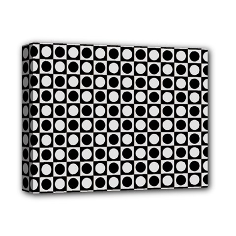 Modern Dots In Squares Mosaic Black White Deluxe Canvas 14  X 11  by EDDArt
