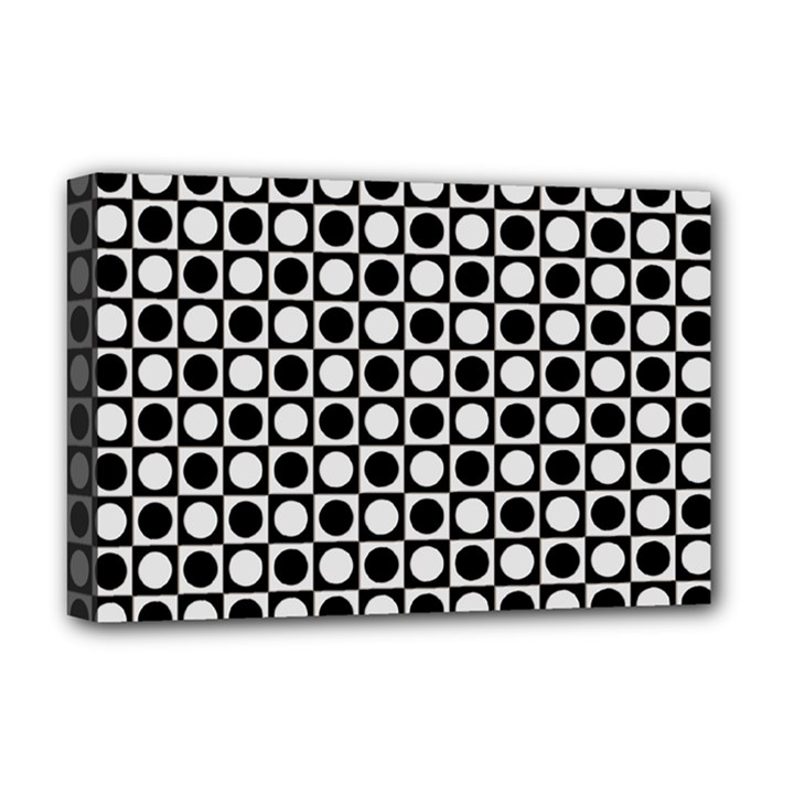 Modern Dots In Squares Mosaic Black White Deluxe Canvas 18  x 12