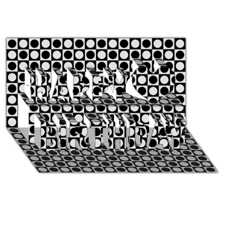 Modern Dots In Squares Mosaic Black White Happy Birthday 3D Greeting Card (8x4)