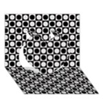 Modern Dots In Squares Mosaic Black White Heart 3D Greeting Card (7x5)