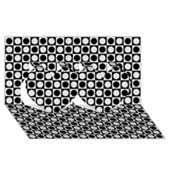 Modern Dots In Squares Mosaic Black White Twin Hearts 3d Greeting Card (8x4) by EDDArt
