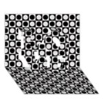 Modern Dots In Squares Mosaic Black White LOVE 3D Greeting Card (7x5)