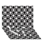 Modern Dots In Squares Mosaic Black White LOVE Bottom 3D Greeting Card (7x5)