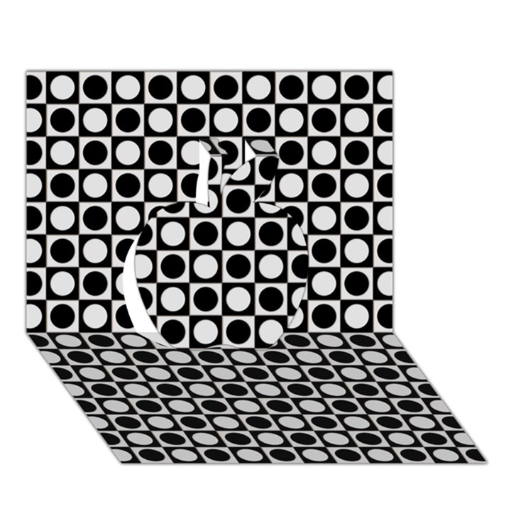 Modern Dots In Squares Mosaic Black White Apple 3D Greeting Card (7x5)