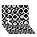 Modern Dots In Squares Mosaic Black White Circle 3D Greeting Card (7x5)