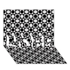 Modern Dots In Squares Mosaic Black White Hope 3d Greeting Card (7x5)
