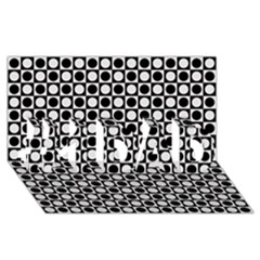 Modern Dots In Squares Mosaic Black White #1 Dad 3d Greeting Card (8x4) by EDDArt