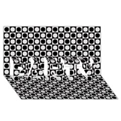 Modern Dots In Squares Mosaic Black White Party 3d Greeting Card (8x4)
