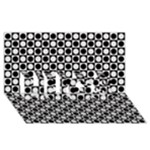 Modern Dots In Squares Mosaic Black White HUGS 3D Greeting Card (8x4)