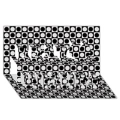 Modern Dots In Squares Mosaic Black White Best Wish 3d Greeting Card (8x4) by EDDArt