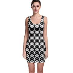 Modern Dots In Squares Mosaic Black White Sleeveless Bodycon Dress