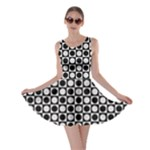Modern Dots In Squares Mosaic Black White Skater Dress