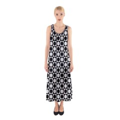 Modern Dots In Squares Mosaic Black White Sleeveless Maxi Dress