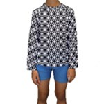 Modern Dots In Squares Mosaic Black White Kids  Long Sleeve Swimwear