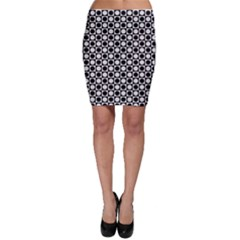 Modern Dots In Squares Mosaic Black White Bodycon Skirt