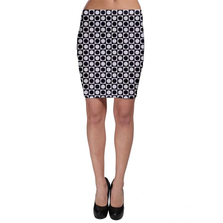 Modern Dots In Squares Mosaic Black White Bodycon Skirt