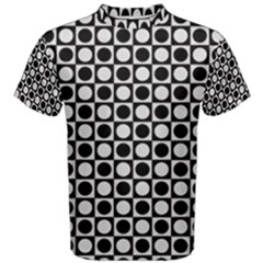 Modern Dots In Squares Mosaic Black White Men s Cotton Tee