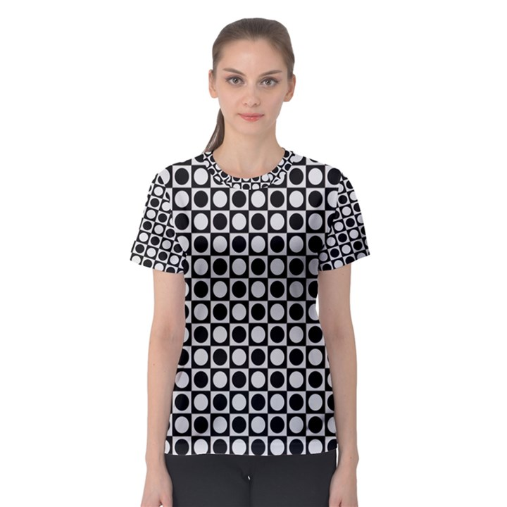 Modern Dots In Squares Mosaic Black White Women s Sport Mesh Tee