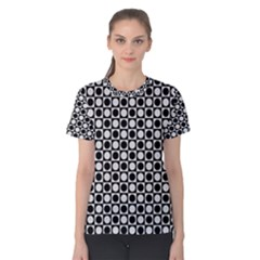 Modern Dots In Squares Mosaic Black White Women s Cotton Tee