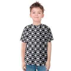 Modern Dots In Squares Mosaic Black White Kids  Cotton Tee by EDDArt