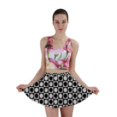 Modern Dots In Squares Mosaic Black White Mini Skirt