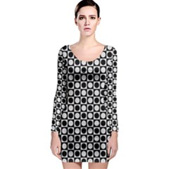 Modern Dots In Squares Mosaic Black White Long Sleeve Bodycon Dress