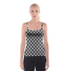 Modern Dots In Squares Mosaic Black White Spaghetti Strap Top