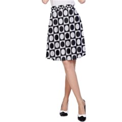 Modern Dots In Squares Mosaic Black White A Line Skirt