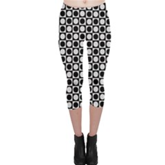 Modern Dots In Squares Mosaic Black White Capri Leggings