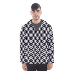 Modern Dots In Squares Mosaic Black White Hooded Wind Breaker (Men)
