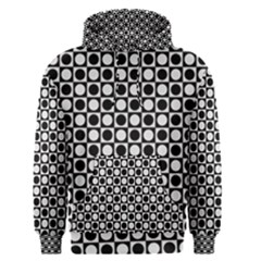 Modern Dots In Squares Mosaic Black White Men s Pullover Hoodie
