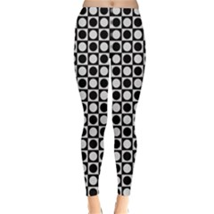 Modern Dots In Squares Mosaic Black White Winter Leggings