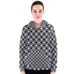 Modern Dots In Squares Mosaic Black White Women s Zipper Hoodie