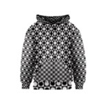 Modern Dots In Squares Mosaic Black White Kids  Zipper Hoodie