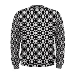 Modern Dots In Squares Mosaic Black White Men s Sweatshirt