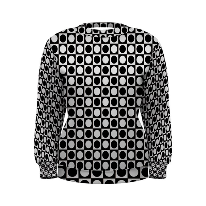 Modern Dots In Squares Mosaic Black White Women s Sweatshirt