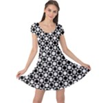 Modern Dots In Squares Mosaic Black White Cap Sleeve Dresses