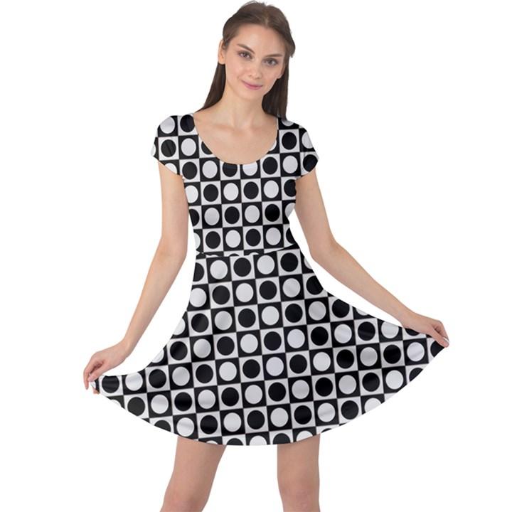 Modern Dots In Squares Mosaic Black White Cap Sleeve Dresses