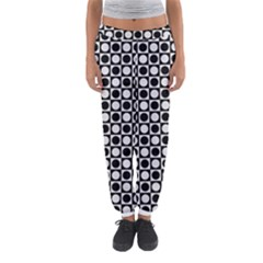 Modern Dots In Squares Mosaic Black White Women s Jogger Sweatpants