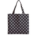 Modern Dots In Squares Mosaic Black White Zipper Grocery Tote Bag