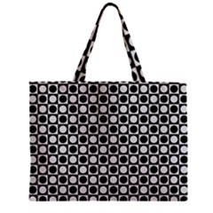 Modern Dots In Squares Mosaic Black White Zipper Mini Tote Bag