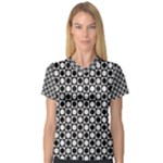 Modern Dots In Squares Mosaic Black White Women s V-Neck Sport Mesh Tee