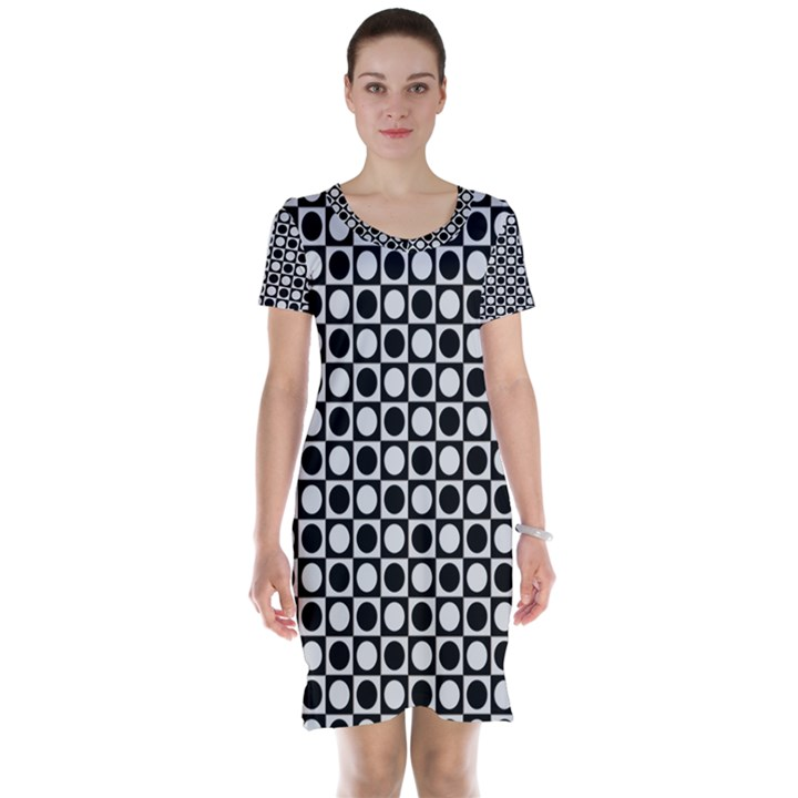 Modern Dots In Squares Mosaic Black White Short Sleeve Nightdress