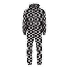 Modern Dots In Squares Mosaic Black White Hooded Jumpsuit (Kids)